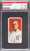 Baseball Cards:Singles (Pre-1930), 1909-11 T206 Tolstoi Bud Sharpe PSA EX-MT 6 - Only Four PSA-Graded Examples. ...