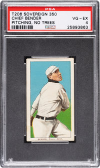 1909-11 T206 Sovereign 350 Chief Bender (No Trees In Background) PSA VG-EX 4 - Pop Four, None Higher for Brand