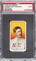 Baseball Cards:Singles (Pre-1930), 1909-11 T206 Sovereign 150 Christy Mathewson (Portrait) PSA VG 3 - Pop One, None Higher for Brand/Series! ...