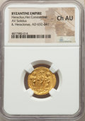 Ancients:Byzantine, Ancients: Heraclius (AD 610-641), with Heraclius Constantine and Heraclonas. AV solidus (20mm, 6h). NGC Choice AU....