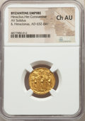 Ancients:Byzantine, Ancients: Heraclius (AD 610-641), with Heraclius Constantine and Heraclonas. AV solidus (18mm, 6h). NGC Choice AU....