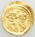 Ancients:Byzantine, Ancients: Heraclius (AD 610-641) and Heraclius Constantine. AV solidus (22mm, 4.46 gm, 7h). XF, bent, graffito....