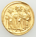 Ancients:Byzantine, Ancients: Heraclius (AD 610-641), with Heraclius Constantine and Heraclonas. AV solidus (19mm, 4.46 gm, 7h). XF....
