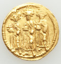 Ancients:Byzantine, Ancients: Heraclius (AD 610-641), with Heraclius Constantine and Heraclonas. AV solidus (20mm, 4.53 gm, 7h). XF....