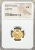 Ancients:Byzantine, Ancients: Tiberius II Constantine (AD 578-582). AV semissis (17mm, 6h). NGC MS, marks....