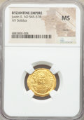 Ancients:Byzantine, Ancients: Justin II (AD 565-578). AV solidus (21mm, 6h). NGC MS, marks....