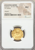 Ancients:Byzantine, Ancients: Justinian I the Great (AD 527-565). AV solidus (21mm, 6h). NGC AU, wrinkled, clipped. ...