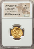 Ancients:Byzantine, Ancients: Phocas (AD 602-610). AV solidus (21mm, 4.44 gm, 7h). NGC MS 5/5 - 3/5, crimped, clipped. ...
