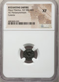 Ancients:Byzantine, Ancients: Maurice Tiberius (AD 582-602). AE pentanummium (12mm, 7h). NGC XF....
