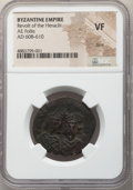 Ancients:Byzantine, Ancients: Revolt of the Heraclii (AD 608-610). AE follis (28mm, 6h). NGC VF, bent....