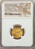 Ancients:Byzantine, Ancients: Constans II Pogonatus (AD 641-668), with Constantine IV, Heraclius and Tiberius. AV solidus (19mm, 4.41 gm, 6h). NGC MS 4/5 - ...