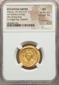 Ancients:Byzantine, Ancients: Phocas (AD 602-610). AV solidus (21mm, 4.43 gm, 7h). NGC MS 4/5 - 3/5, brushed, clipped. ...
