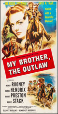 """Movie Posters:Western, My Brother, the Outlaw (Pathe, 1951). Fine+ on Linen. Trimmed Three Sheet (40"""" X 78.75""""). Western.. ..."""