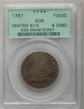 1787 1C Fugio Cent, UNITED STATES, 4 Cinquefoils, Good 6 PCGS. PCGS Population: (6/391). NGC Census: (2/114)