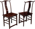 Furniture , A Pair of Chinese Elmwood Side Chairs, 19th century. 43-1/2 x 20-1/2 x 16-3/4 inches (110.5 x 52.1 x 42.5 cm) (each). ... (Total: 2 Items)