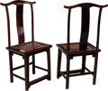 Furniture , A Pair of Chinese Elmwood Side Chairs, 19th century. 45-1/4 x 23 x 16 inches (114.9 x 58.4 x 40.6 cm) (each). ... (Total: 2 Items)