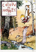 Memorabilia:Comic-Related, Bill Watterson Calvin and Hobbes Signed Limited Edition Lithograph Print #126/1000 (Watterson, 1992).... (Total: 2 Items)