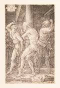 Prints & Multiples:Old Master, Albrecht Dürer (German, 1471-1528). The Flagellation, from The Engraved Passion, 1512. Engraving on paper. 4-5/8 x 2...