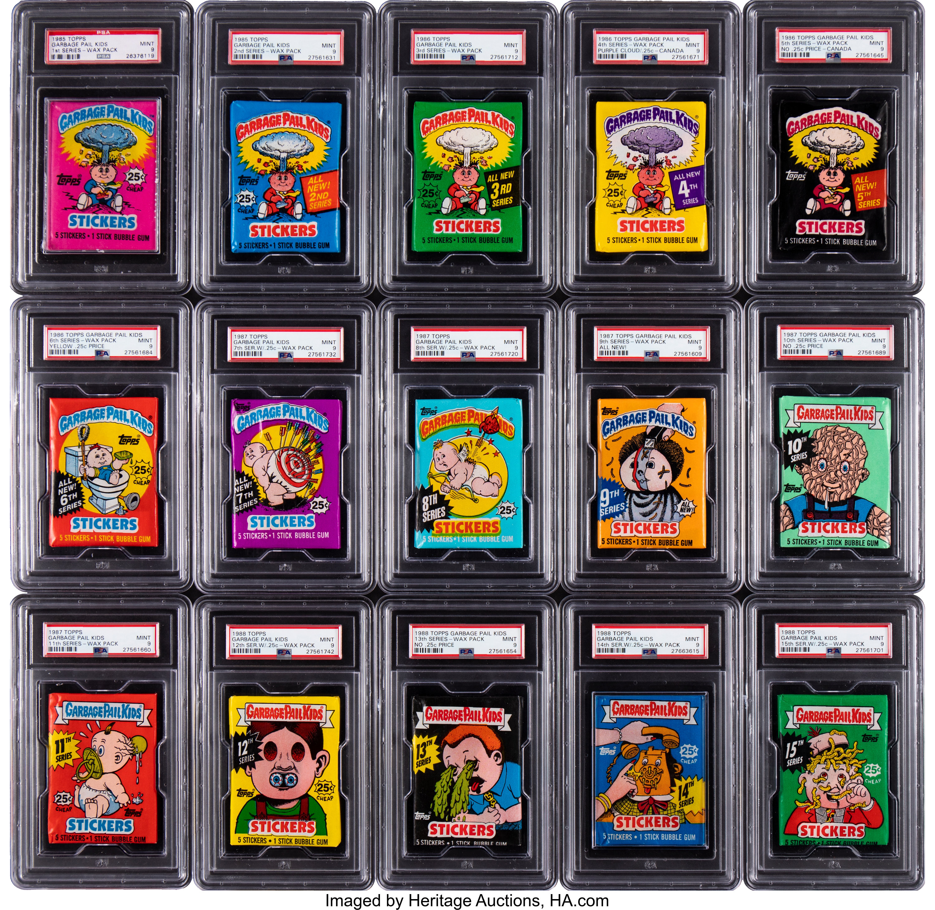 1985 88 Topps Garbage Pail Kids Psa Mint 9 Wax Pack Complete Run Lot 56378 Heritage Auctions
