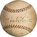 Baseball Collectibles:Balls, 1934 Babe Ruth & Lefty Gomez Dual-Signed Baseball with Letter from Tour of Japan Translator....