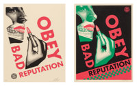 Shepard Fairey (American, b. 1970) Bad Reputation (Black and Cream) (two works), 2019 Screenprints in colors on speckl...