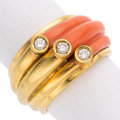 Estate Jewelry:Rings, Diamond, Coral, Gold Ring The ring features fu...