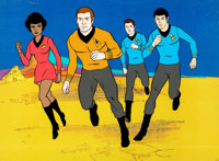 Star Trek: The Animated Series Captain Kirk, Mr. Spock, Dr. McCoy and Uhura Limited Edition Cel (Filmation, 1976)