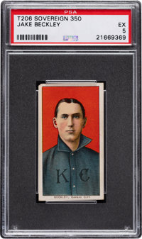 1909-11 T206 Sovereign 350 Jake Beckley PSA EX 5 - Pop Three, Two Higher for Brand