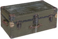 Other, A Painted Wood and Metal Foot Locker Trunk, early 20th century . Marks: PAT APLD FOR. 14 x 31 x 17-1/2 inches (35.6 x 78...