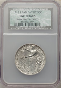 1915-S 50C Panama-Pacific -- Improperly Cleaned -- NCS. Unc Details. NGC Census: (1/2524). PCGS Population: (29/3121). M...