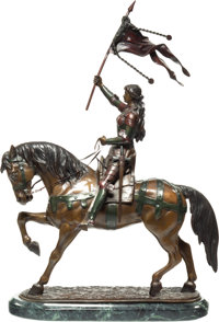 A Polychromed Sculpture of Joan of Arc Modeled After Fremiet 25-1/2 x 16 x 5 inches (64.8 x 40.6 x 12.7 cm)