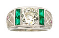 Estate Jewelry:Rings, Diamond, Emerald, Synthetic Ruby, Platinum Ring. ...