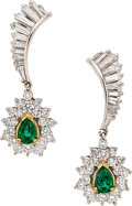 Estate Jewelry:Earrings, Diamond, Emerald, Gold Earrings  The earrings ...
