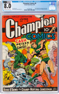 Golden Age (1938-1955):Superhero, Champion Comics #8 (Harvey, 1940) CGC VF 8.0 Off-white to white pages....