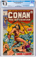 Bronze Age (1970-1979):Adventure, Conan the Barbarian #1 (Marvel, 1970) CGC NM- 9.2 White pages....