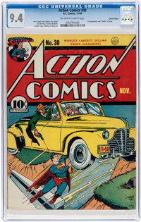 Action Comics #30 Central Valley Pedigree (DC, 1940) CGC NM 9.4 Off-white to white pages