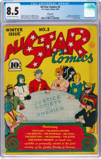 All Star Comics #3 Billy Wright Pedigree (DC, 1940) CGC VF+ 8.5 Off-white to white pages