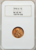 1910-S 1C MS65 Red NGC. NGC Census: (124/46). PCGS Population: (368/142). CDN: $480 Whsle. Bid for problem-free NGC/PCGS...