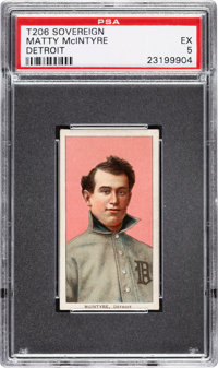 1909-11 T206 Sovereign 350 Matty McIntyre (Detroit) PSA EX 5 - Very Low Total Pop for Brand