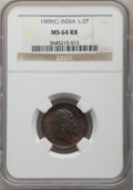 India:British India, India: British India. Edward VII Pair of Certified 1/2 Pice NGC,... (Total: 2 coins)