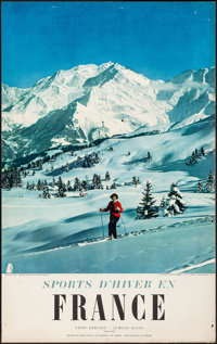 Winter Sports in France, Saint Gervais and Mont Blanc (French Department of Tourism, 1960s). Folded, Fine/Very Fine. Fra...