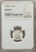 1909-O 10C MS65+ NGC. NGC Census: (14/6 and 1/0+). PCGS Population: (16/22 and 0/3+). CDN: $1,250 Whsle. Bid for problem...
