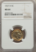 Buffalo Nickels: , 1927-D 5C MS64 NGC. NGC Census: (257/34). PCGS Population: (496/105). CDN: $800 Whsle. Bid for problem-free NGC/PCGS MS64. ...
