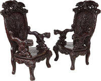 A Pair of Japanese Carved Hardwood Arm Chairs, early 20th century 53 x 31-1/2 x 21-1/2 inches (134.6 x 80.0 x 54.6... (T...