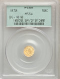 1870 50C Liberty Round 50 Cents, BG-1010, R.3, MS64 PCGS. PCGS Population: (45/25). NGC Census: (13/14)