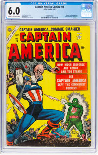 Captain America Comics #78 (Timely, 1954) CGC FN 6.0 Cream to off-white pages