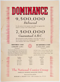 Dominance National/DC Comics Advertising Rate Card (DC Comics & Richard A. Feldon & Co., 1940s)