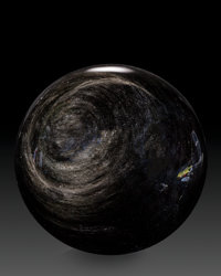 Obsidian Sphere Stone Source: Mexico 7.00 inches (17.78 cm) in diameter
