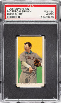 1909-11 T206 Sovereign 150 Mordecai Brown (Cubs On Shirt) PSA VG-EX 4 (MC) - Pop One, One Higher for Brand