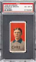 Baseball Cards:Singles (Pre-1930), 1909-11 T206 Sovereign 350 Mordecai Brown (Portrait) PSA EX-MT 6 - Pop One, None Higher for Brand/Series. ...